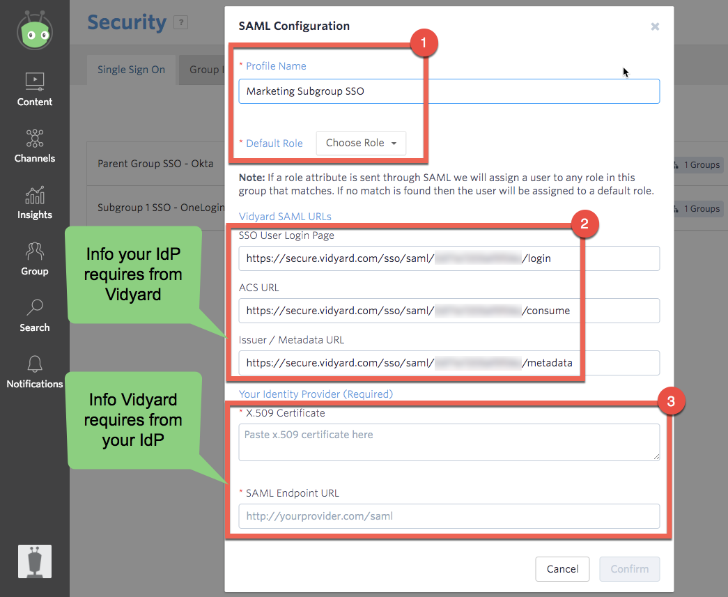 SAML configuration screen in Vidyard, demonstrating info that needs to be exchanged between Vidyard and your IdP