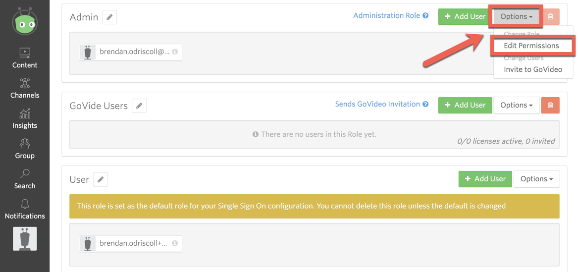 Role structure within a Vidyard group. Demonstrates steps to edit permissions for a role.