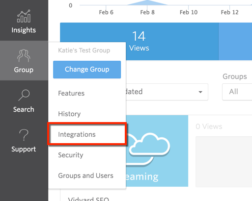 The Group menu in the Vidyard platform contains the Integration page link.