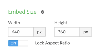 Embed size and aspect ratio options.