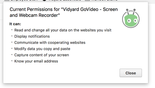 Permissions required for GoVideo chrome extension to operate