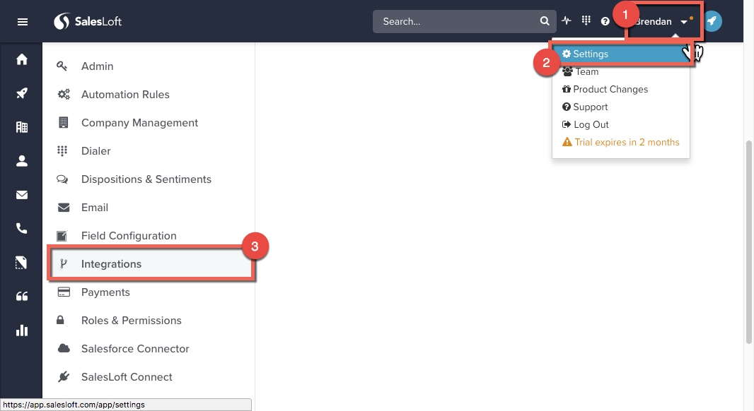 Steps in Salesloft to navigate to integrations tab