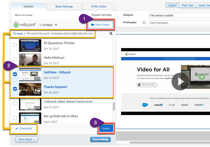 Using the GoVideo app inside the Marketing Cloud content builder