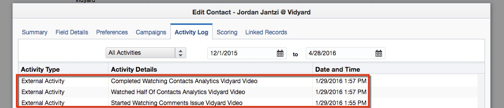 An example of a contact activity log listing video views.