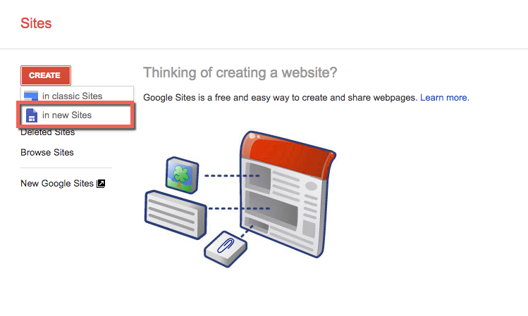 Google Sites main page. Option to create a new website.