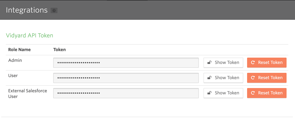 The API tokens are at the top of the Integrations page. The tokens are hidden, beside is a Show Token button.