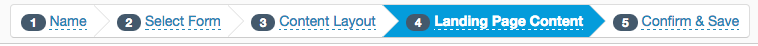 Breadcrumb trail for Pardot landing page creation process, highlighting Step 4: Landing Page Content.