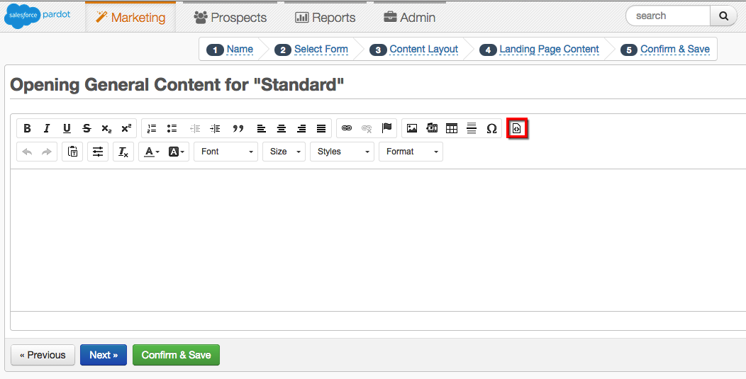 Edit HTML icon on the Landing Page editor.