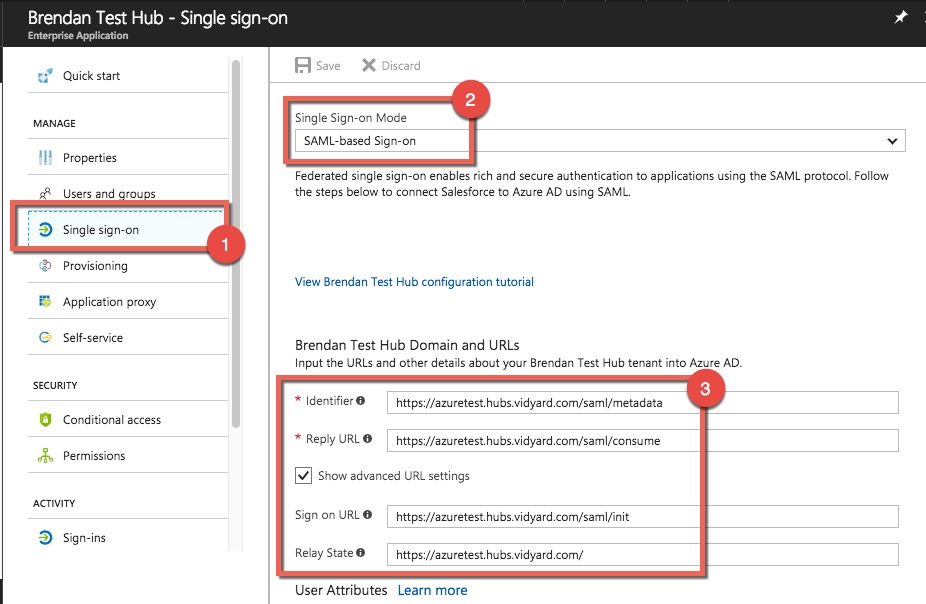 Single Sign-On settings for your new application in Azure, including SAML URLs required from Vidyard