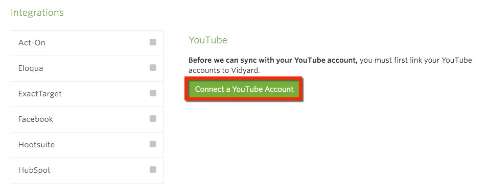 Click Connect to a Youtube account