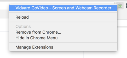 "Right-click the extension icon to reveal ""Reload"" option for GoVideo"