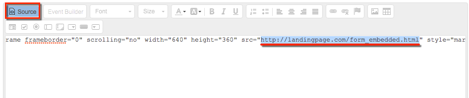The iframe embed code has been pasted into the Source area of the Editor. The URL is highlighted to be changed.