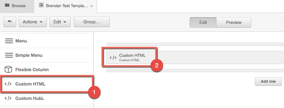 Hubspot template with Custom HTML module