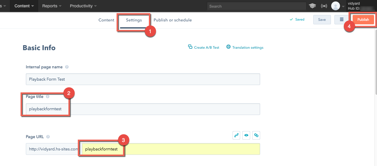 Steps to add Page Title and Page URL to your Hubspot landing page