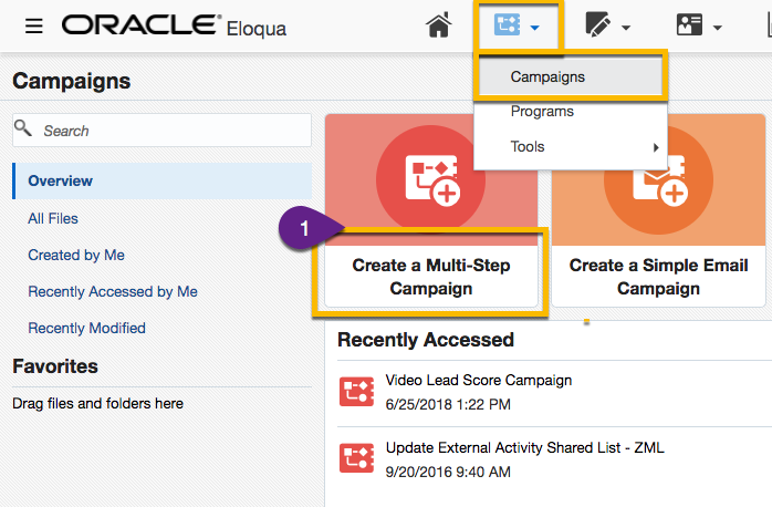 Steps from Eloqua dashboard to create a new campaign