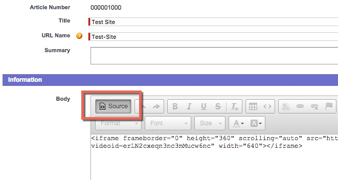 Source code button within the text editor of an Salesforce knowledge article