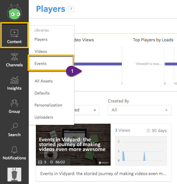Steps to navigate to the Event Library from the Vidyard Dashboard