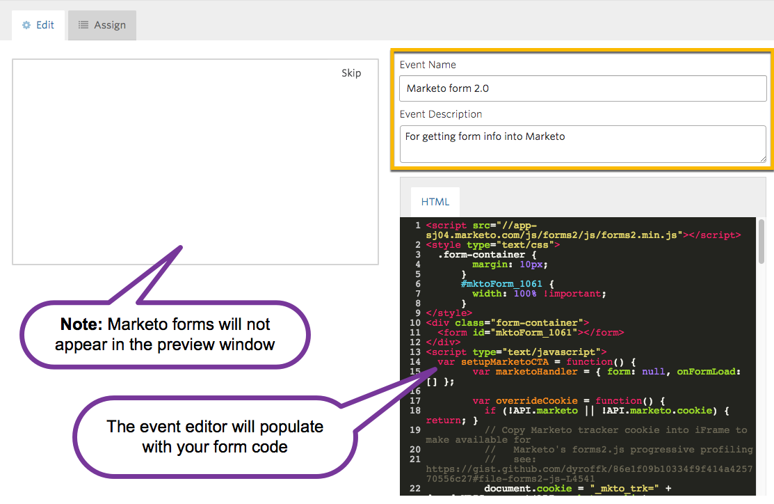 Event editor interface, indicating fields to enter an event name and description, as well as HTML source code populated for Marketo form