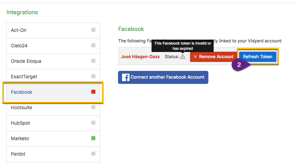 Vidyard integration page, demonstrating button to refresh Facebook permissions