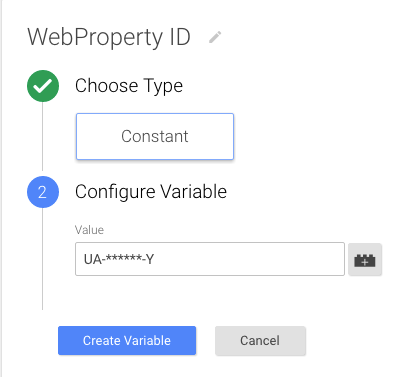 The variable has been named WebProperty ID, the Type is Constant, and the Configuration contains the Google Analytics web property ID.