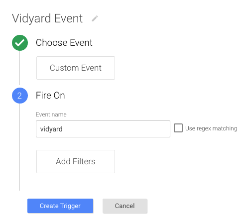 Custom Event, Event name is 'vidyard'.