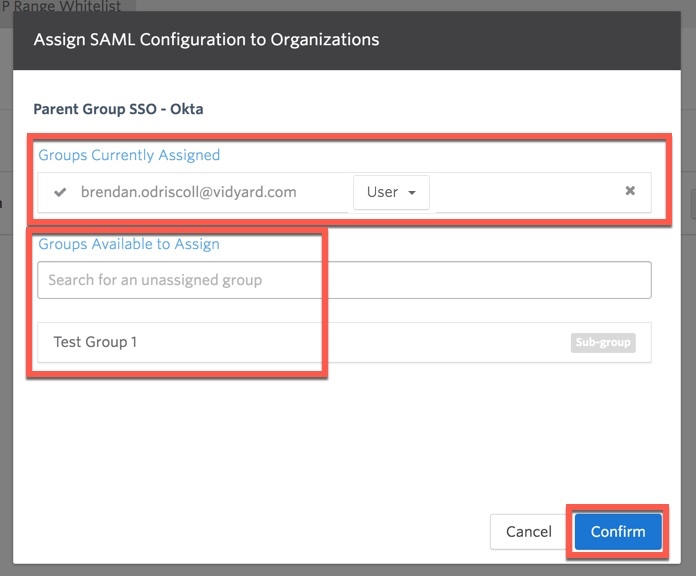 SSO assignment interface, demonstrating groups currently assigned to an SSO profile as well as those still available for assignment.