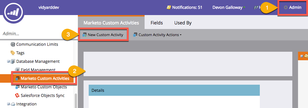 Steps in Marketo to create a new custom activity