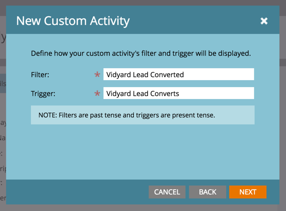 The Trigger and Filter fields are text fields.