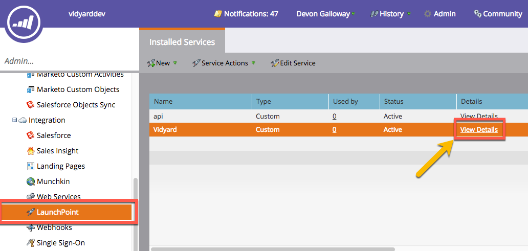 View of Installed LaunchPoint Services in Marketo with option to View Details (this provides Client ID and Client Secret)