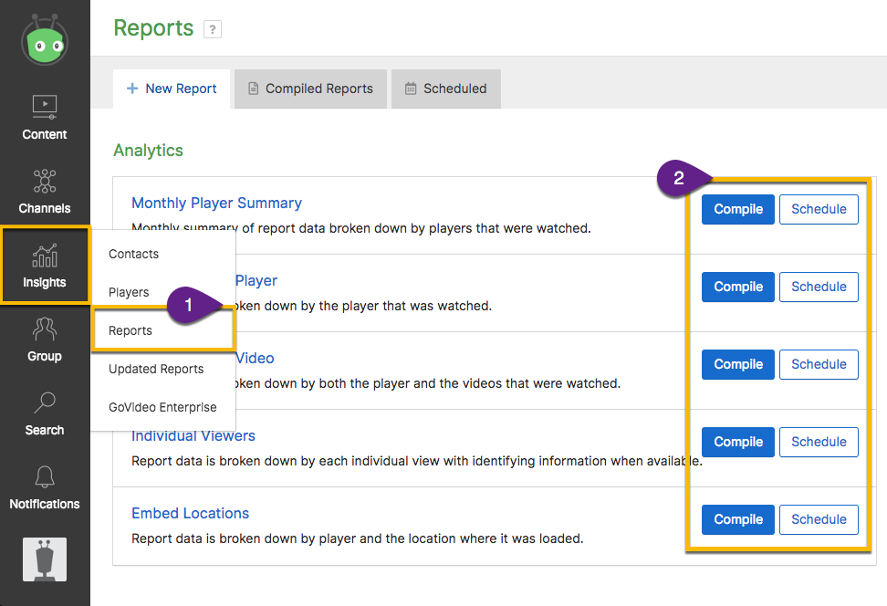 Steps from Vidyard dashboard to open the reports center and export data to a spreadsheet