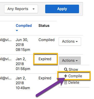 Re-compiling an expired report in the Reports Center