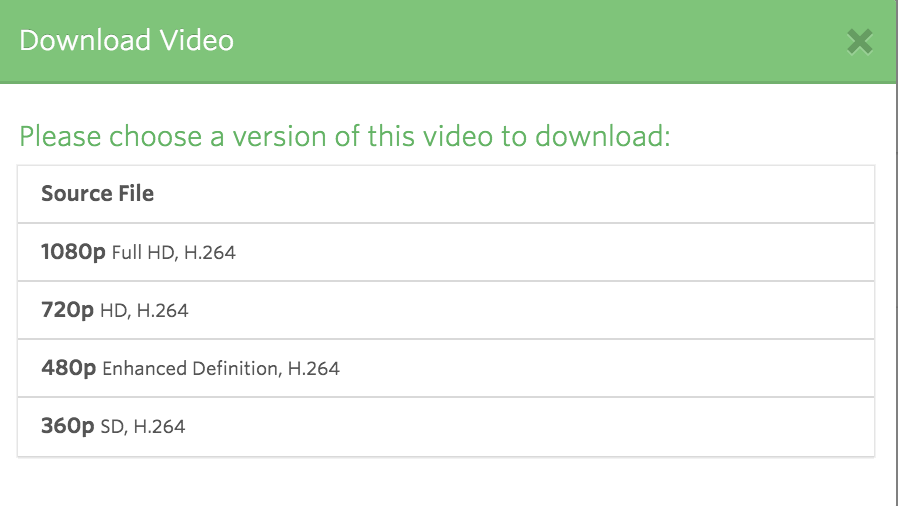 Video download options in Vidyard