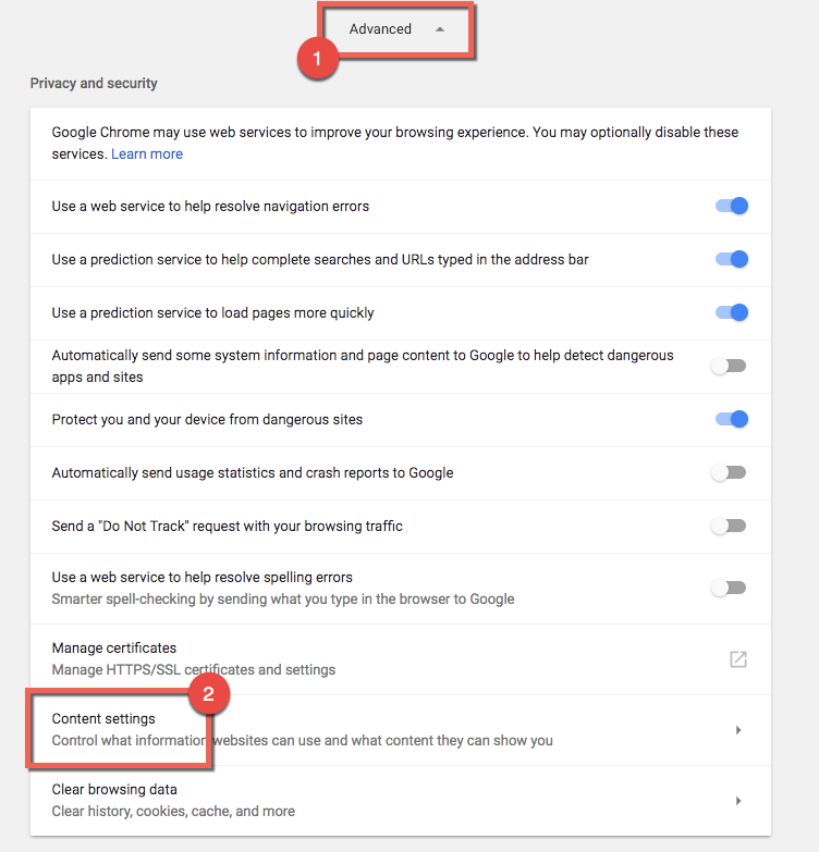 Chrome settings menu, indicating advanced settings tab and Content settings tab