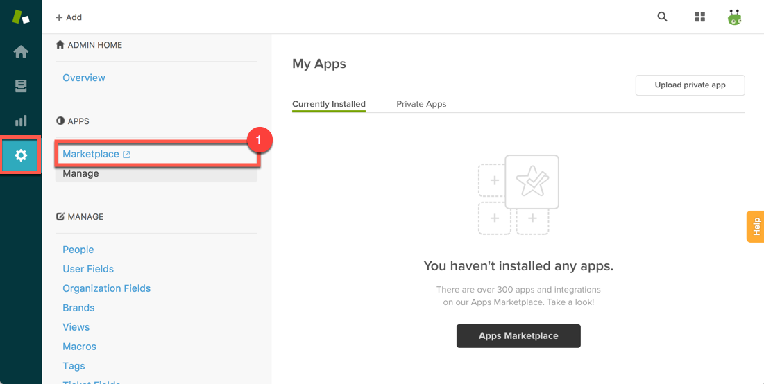 Steps from Zendesk admin console to add a private app