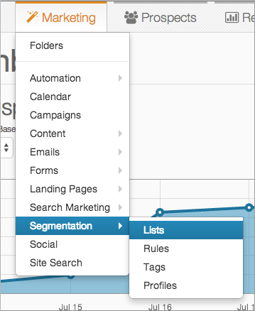 Marketing menu, selecting Segmentation, then Lists.