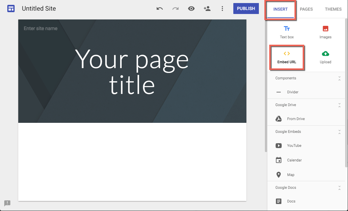 Steps on a Google Sites design page to embed a Vidyard player