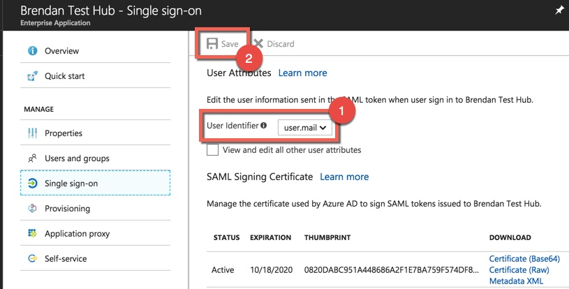 Application Settings, demonstrating how to select user.mail as the information sent in the SAML token when signing into your app. Indicates then to click Save.