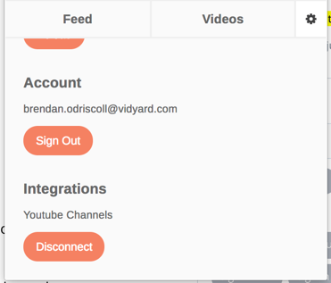 Email account and YouTube account currently in use with GoVideo
