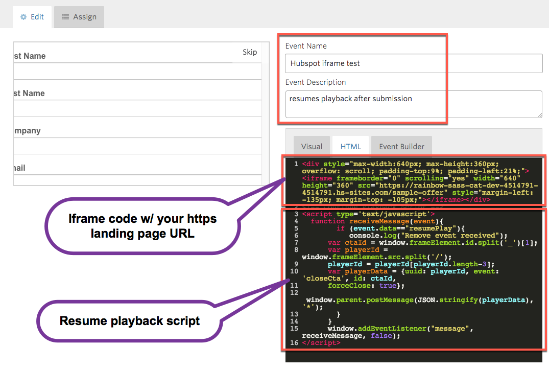 Vidyard event editor, demonstrating a complete example of the iframe code and playback script together