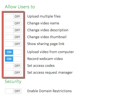 Options available that determine what users of the uploader widget are allowed to do