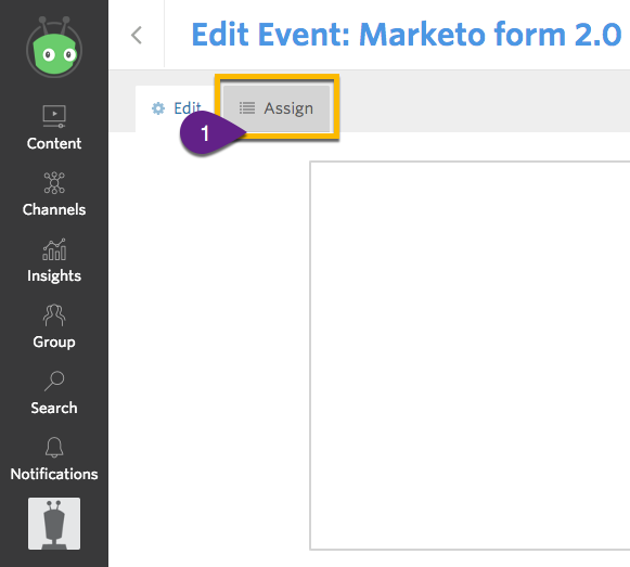 Event editor interface, demonstrating where to select the Assign button