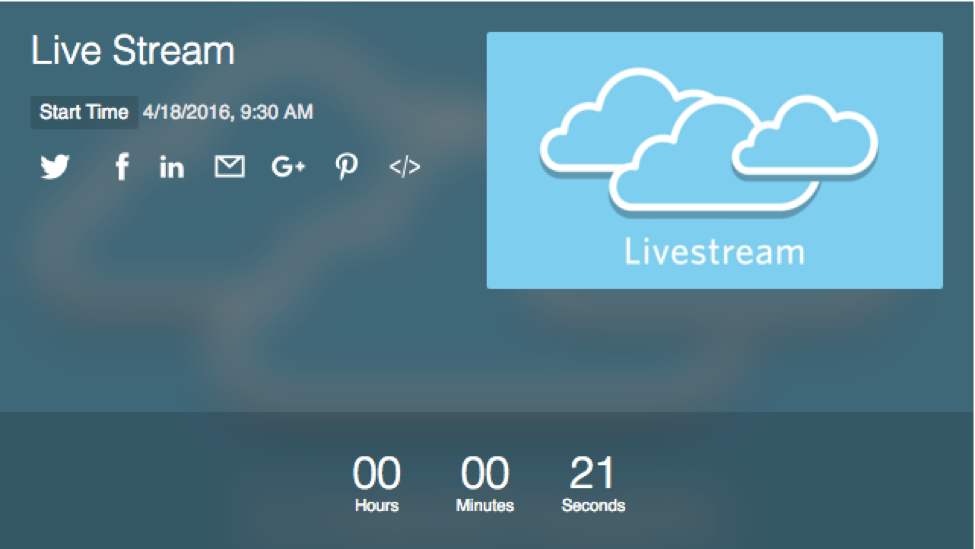 Livestream player countdown timer screen