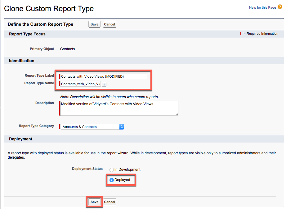Salesforce interface for cloning a report type; indicates where to modify report type label and name